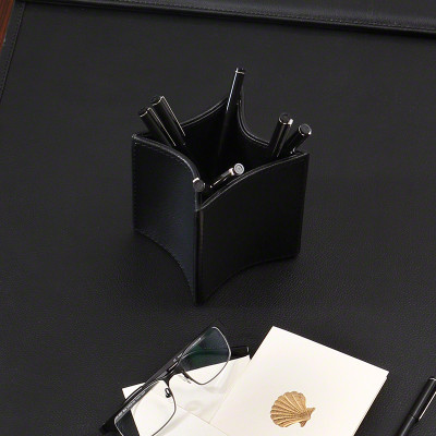 Folded Leather Pencil Cup - Black