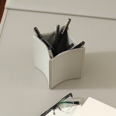 Folded Leather Pencil Cup - Grey