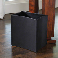 Folded Leather Waste Basket - Black