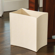 Folded Leather Waste Basket - Ivory