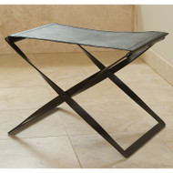 Folding Stool - Iron & Brown Leather