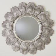 Peacock Feather Mirror - Antique Silver