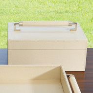 Wrapped Leather Handle Box - Ivory