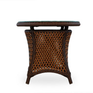 """Lloyd Flanders Grand Traverse 24"""" Round End Table With Lay On Glass"""
