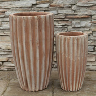 Anamese Fluted Vase Set of 2 - Antique Terra Cotta