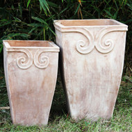 Anamese Fortuna Scroll Tall Square Planter Set of 2