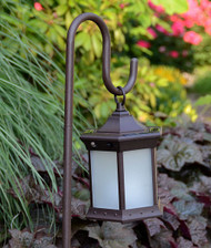Solar Lantern With Shepherds Hook Frosted Glass image 1