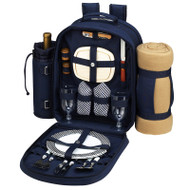 Two Person Backpack with Blanket - Navy image 1