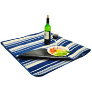 Picnic Blanket with water resistant backing - Blue Tan Strpe image 1