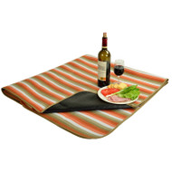 Picnic Blanket with Water Resistant Backing - Orange Stripe image 1