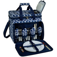 Deluxe Picnic Cooler for Four - Trellis Blue image 1