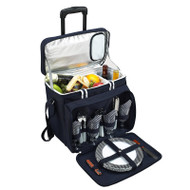 Deluxe Picnic Cooler for Four on Wheels - Navy image 1