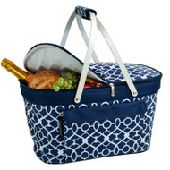 Collapsible Insulated Basket Cooler - Trellis Blue image 1