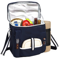 Wine & Cheese Cooler with Blanket - Navy image 1