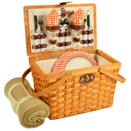 Frisco Picnic Basket For Two With Blanket - Diamond Orange image 1
