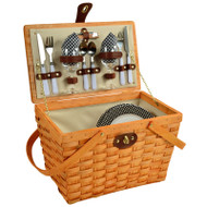 Frisco Picnic Basket For Two - Black Gingham image 1
