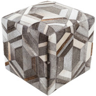 Surya Lycaon Cube Pouf - LCPF002 - Medium Gray, Dark Brown, Butter, Taupe, White