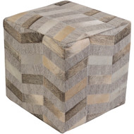 Surya Medora Pouf 18 x 18 x 18 - Camel, Medium Gray, Cream, Light Gray #1