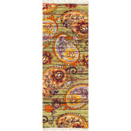 "Loloi Aria Rug  HAR10 Green / Orange - 1'-9"" X 5'"