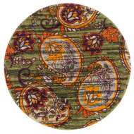 "Loloi Aria Rug  HAR10 Green / Orange - 3'-0"" x 3'-0"" Round"