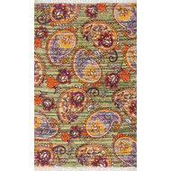 "Loloi Aria Rug  HAR10 Green / Orange - 3'-6"" x 5'-6"""