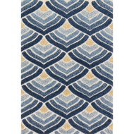 "Loloi Enchant Rug  EN-18 Ivory / Blue - 7'-7"" X 7'-7"" Square"