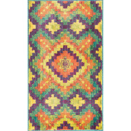 "Loloi Isabelle Rug  HIS03 Orange / Green - 3'-0"" x 3'-0"" Round"
