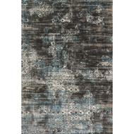 "Loloi Kingston Rug  KT-02 Charcoal / Blue - 7'-10"" X 7'-10"" Round"