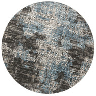 "Loloi Kingston Rug  KT-02 Charcoal / Blue - 9'-3"" X 9'-3"" Round"