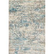 "Loloi Kingston Rug  KT-05 Ivory / Blue - 2'-7"" x 12'-0"""
