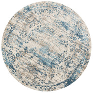 "Loloi Kingston Rug  KT-05 Ivory / Blue - 9'-3"" X 9'-3"" Round"