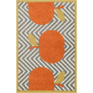 "Loloi Tilley Rug  HTI04 Grey / Orange - 2'-5"" X 3'-9"" HEARTH"
