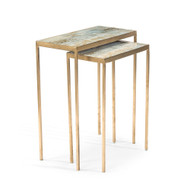 John Richard Set of Two Lustrous Sky Stacking Tables