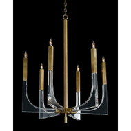 John Richard Acrylic and Brass Six-Light Chandelier - Small