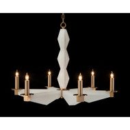 John Richard Sculptural Alabaster and Brass Six-Light Chandelier