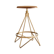 Arteriors Wyndham Swivel Counter Stool - Natural Wax/Vintage Brass