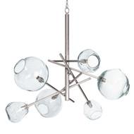 Molten Chandelier in Nickel - Clear Glass