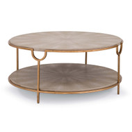 Vogue Cocktail Table - Ivory Grey Shagreen with Brass