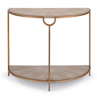 Vogue Demilune Console - Ivory Grey Shagreen with Brass