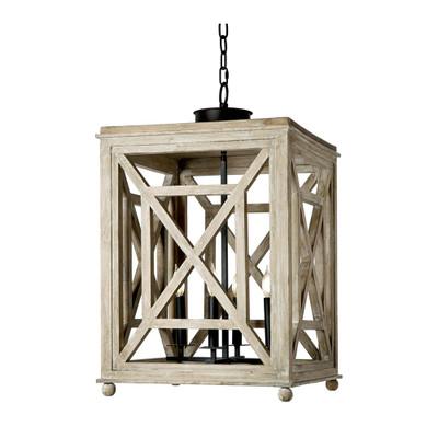 Wood Lattice Lantern Chandelier