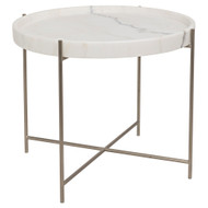 Noir Chuy Side Table - Antique Silver - Metal and Stone
