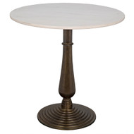 Noir Alida Side Table - Cast Iron with White Stone - Aged Brass