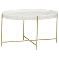 Noir Che Cocktail Table - Antique Brass - Metal and Stone