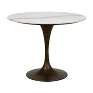 "Noir Laredo Table 36"" - Aged Brass - White Stone Top"