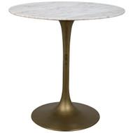 "Noir Laredo Bar Table 40"" - Antique Brass - White Stone Top"