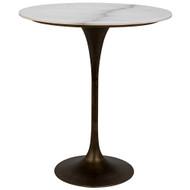 "Noir Laredo Bar Table 36"" - Aged Brass - White Stone Top"