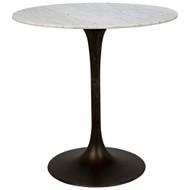 "Noir Laredo Bar Table 40"" - Aged Brass - White Stone Top"