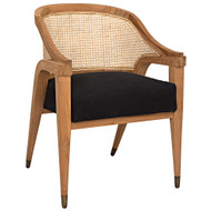 Noir Chloe Chair - Teak - Caning - and Black Cotton