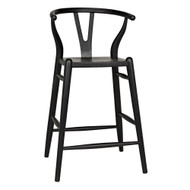 Noir Zola Counter Stool - Charcoal Black