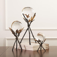 Global Views Bamboo Stand w/Sphere - Bronze - Med